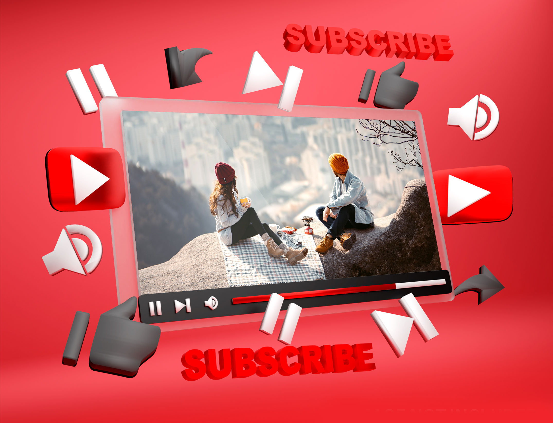 دانلود موکاپ نمایش ویدیو یوتیوب به صورت لایه باز برای فتوشاپ